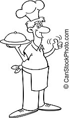 Cartoon man in a chefs hat holding - Black and white...