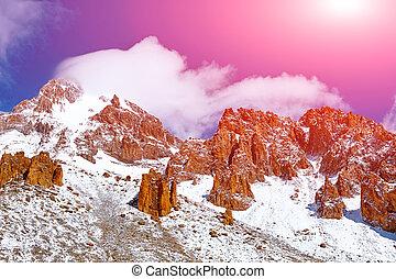 Snow capped mountains Mount Kazbek, Georgia, Caucasus