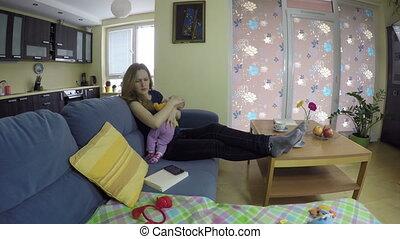 mom still baby on sofa