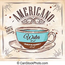 Poster americano kraft - Poster coffee americano in vintage...