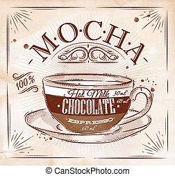 Poster mocha kraft - Poster coffee mocha in vintage style...