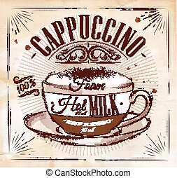 Poster cappuccino kraft - Poster coffee cappuccino in...