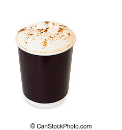cappuccino coffee in take away paper glass isolated on white...