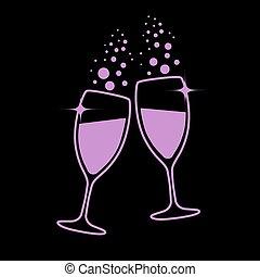 champagne glasses eps10 vector illustration