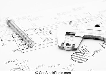 Bolt, nut and caliper on the drawing - Bolt, nut and caliper...