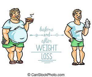 Man before and after weight loss. Cartoon funny characters