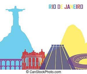 Rio de Janeiro skyline pop in editable vector file