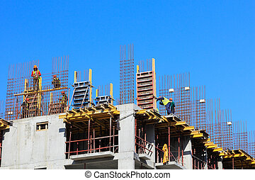 cast in place concrete construction - Construction site with...