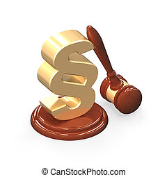 wooden gavel and golden paragraph isolated over white