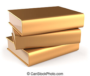 Books golden three 3 textbook stack blank yellow gold manual...