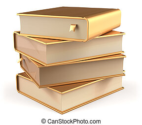 Books golden four 4 textbook stack blank yellow gold icon -...