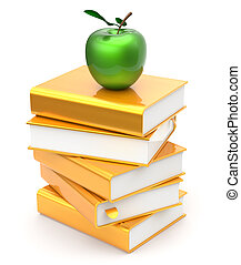 Books stack golden yellow textbooks apple green education...