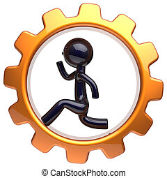 Man character inside gearwheel running businessman icon -...