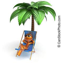 Cartoon character chilling beach deck chair man relaxing