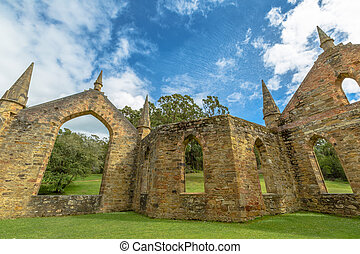 Port Arthur Tasmania - Ruins of the Church Convict, ancient...
