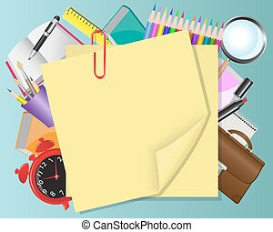 yellow paper and school objects - background with yellow...