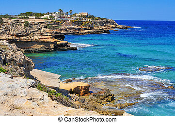 coast of Sant Josep, in the South-West of Ibiza Island,...