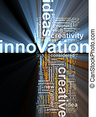 Innovation word cloud glowing