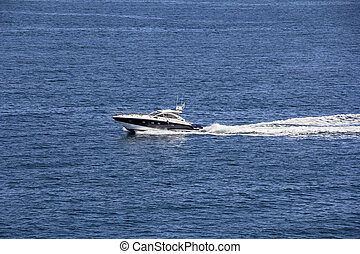 Powerboat Yacht and his trace on the blue sea