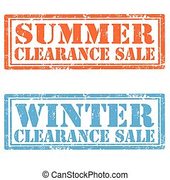 Clearance Sale - Set of grunge rubber stamp with text Summer...