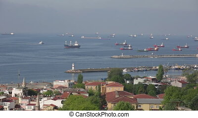 ships stand on an anchor in the Sea of Marmara, Istanbul