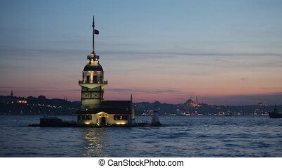Maiden tower in Istanbul on a sunset, Turkey