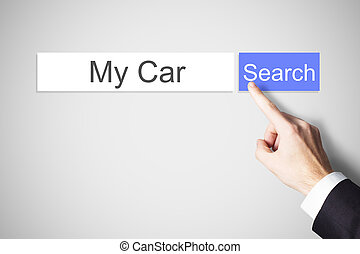 finger pushing blue web search button my car - businessmans...