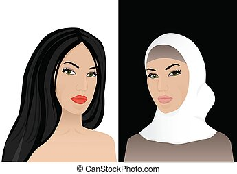 woman in hijab and without hijab