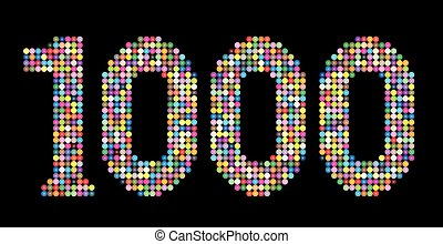 Thousand Balls Shiny Beads Number - Number 1000 consisting...