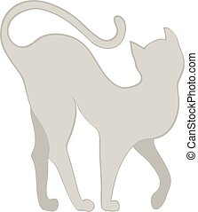 silhouette of a cat - gracefully curved silhouette of...