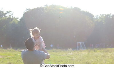Healthy Father and Daughter Playing