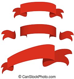 Red Ribbon Banner Icon Set - An image of a red ribbon banner...