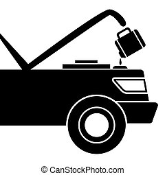 Car Maintenance Icon - An image of a car being given fluid...