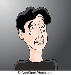 Sad Cartoon Man with Tears - An image of a crying man with...