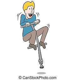 Cartoon Man Riding Pogo Stick