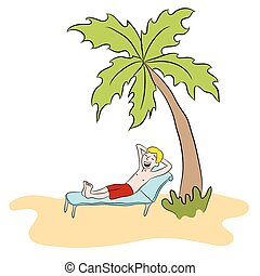 Vacation Man On Private Island - An image of a man relaxing...