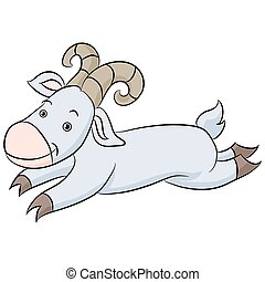 Leaping Goat Cartoon - An image of a cartoon of a leaping...