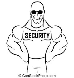 Security Guard Cartoon - An image of a security guard or...