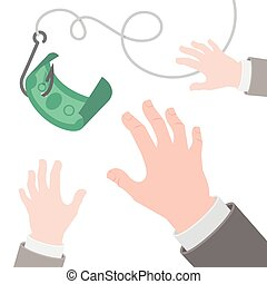 Dollar on a hook flat business concept - Vector flat...