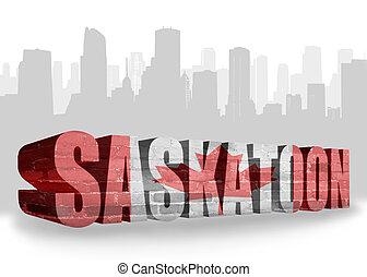 text Saskatoon with national flag of canada near abstract...
