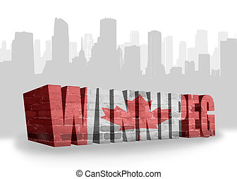 text Winnipeg with national flag of canada near abstract...