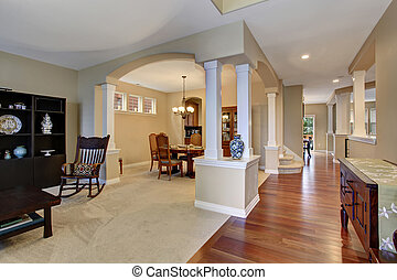 Elegant entryway with carpet, and hardwood floor - Elegant...