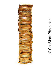 High stack of coins isolated on white - High stack of coins...