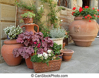 various traditional clay planters with decorative plants on...