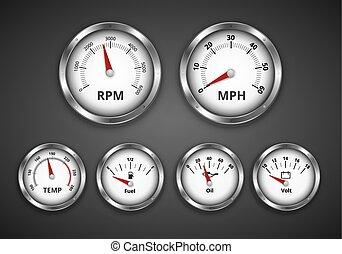 Dashboard - Vintage look silver gauge set for dashboard of...