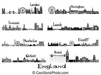 Silhouette signts of 8 cities of England - London,...