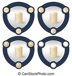 Set of four abstract icons with golden screws and coin