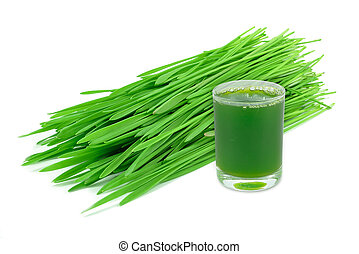 wheatgrass juice isolated on white background