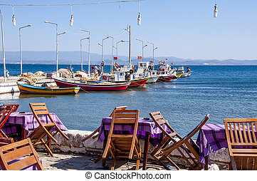 Outdoor cafe by sea at Balikesir, Turkey