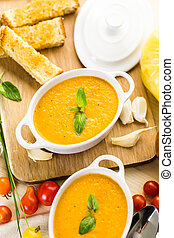 Tomato soup - Roasted tomato soup cooked with organic...